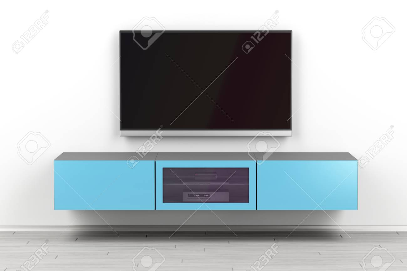 Wall Mounted Tv Cabinet And Big Flat Screen Tv In The Living Stock Photo Picture And Royalty Free Image Image 122803572