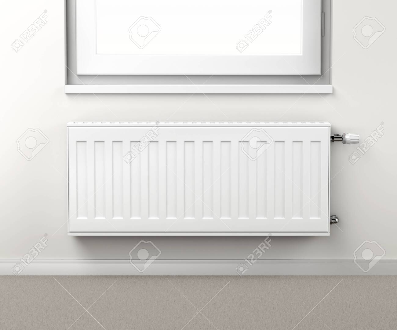 Heating Radiator In The Room Mounted Under The Window Stock Photo Picture And Royalty Free Image Image 122803871