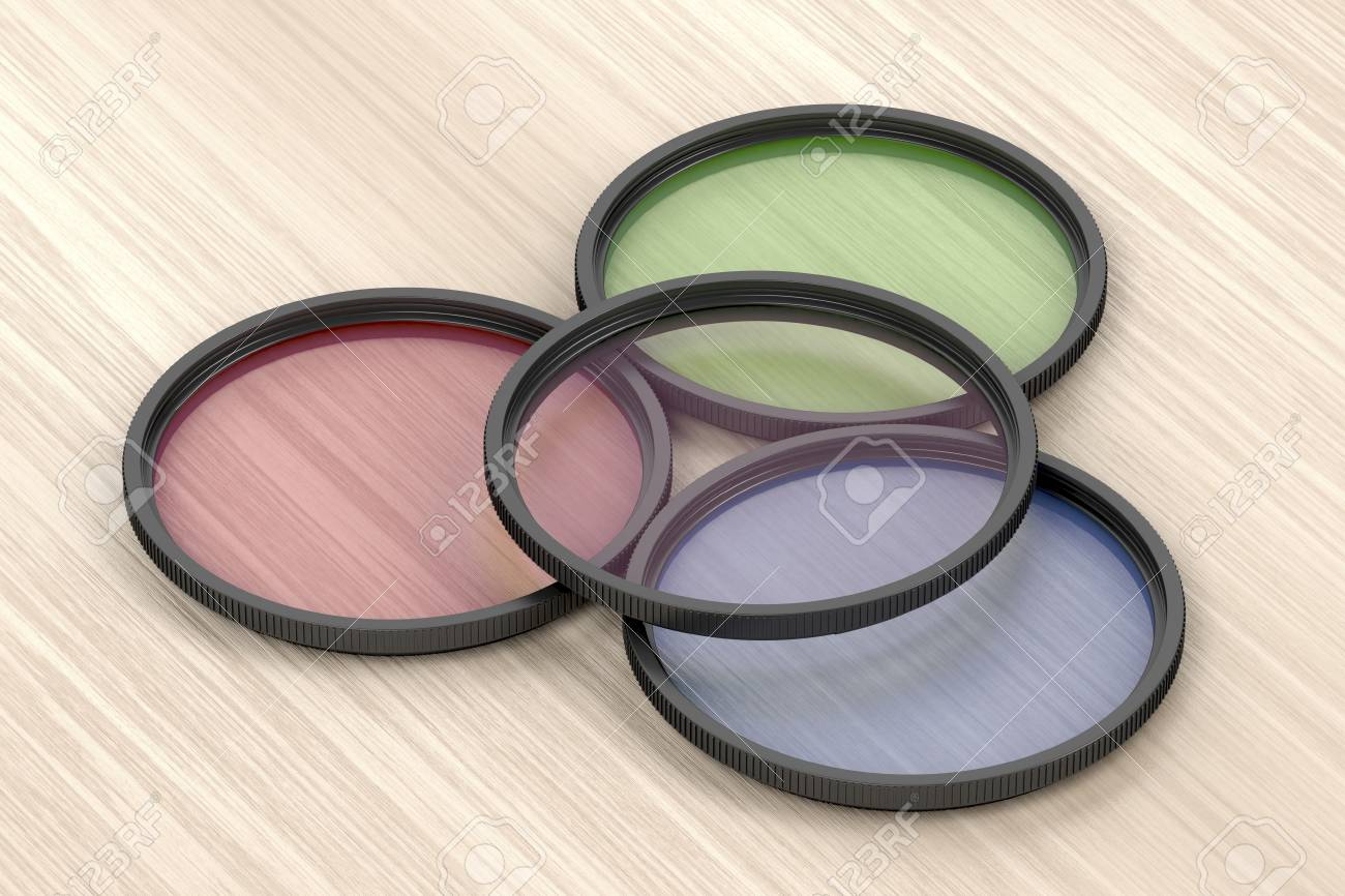 Four different photographic filters on wood background - 124959315