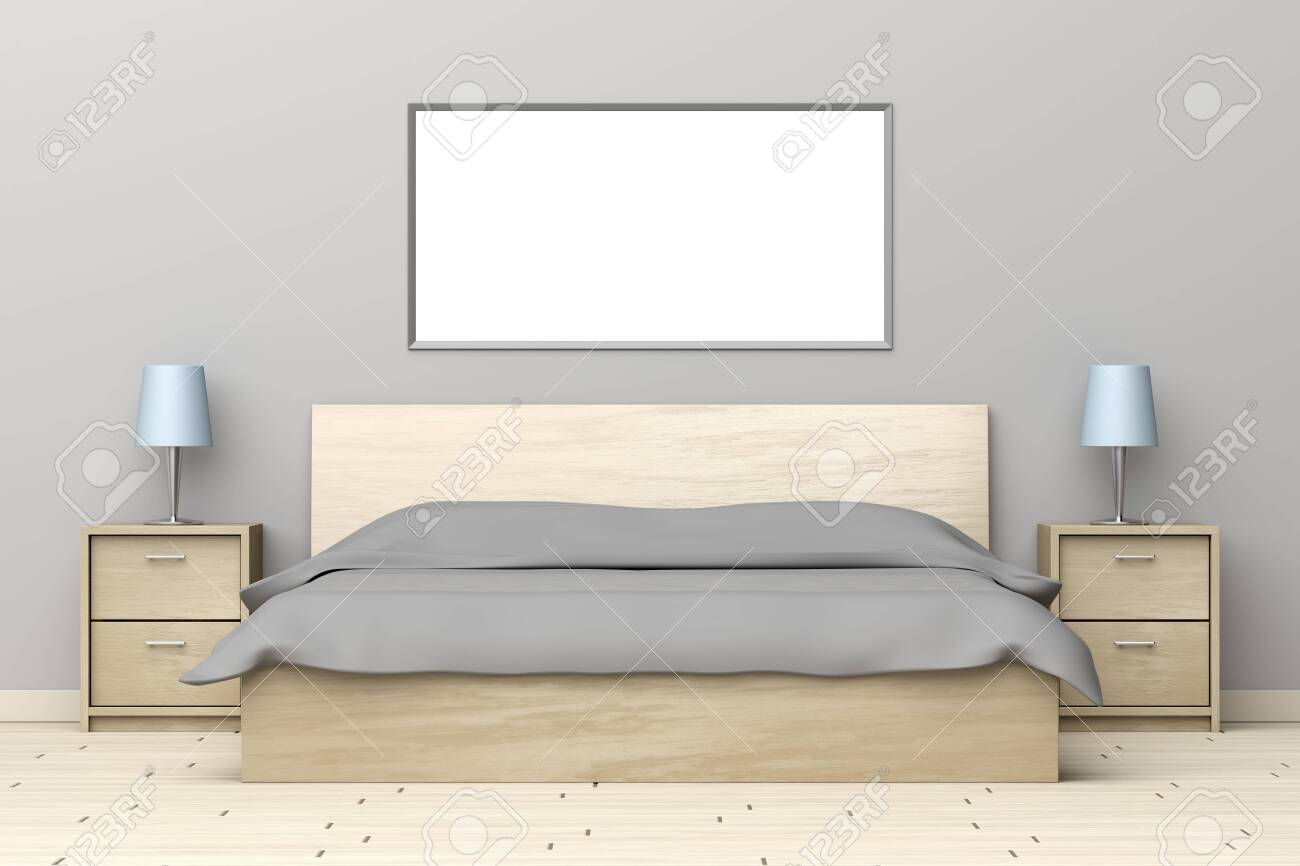 Modern Bedroom Interior With Wooden Bed And Nightstands Stock Photo Picture And Royalty Free Image Image 146848717