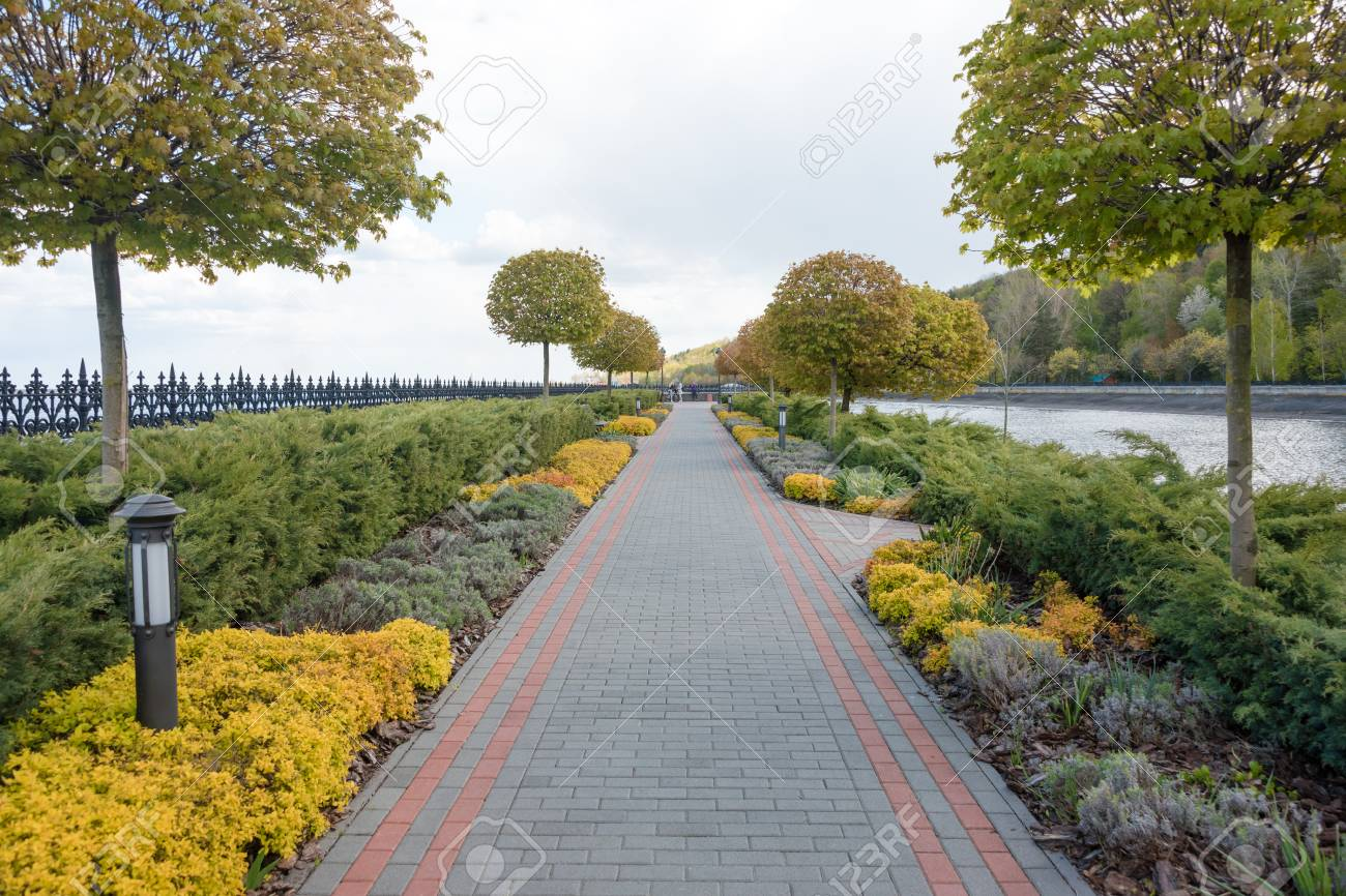 Garden With Topiary Landscape Landscaping In The Park Stock Photo