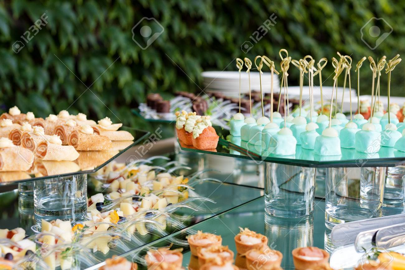 Appetizers, Finger Food, Party Food, Sliders. Canape, Tapas. Served Table