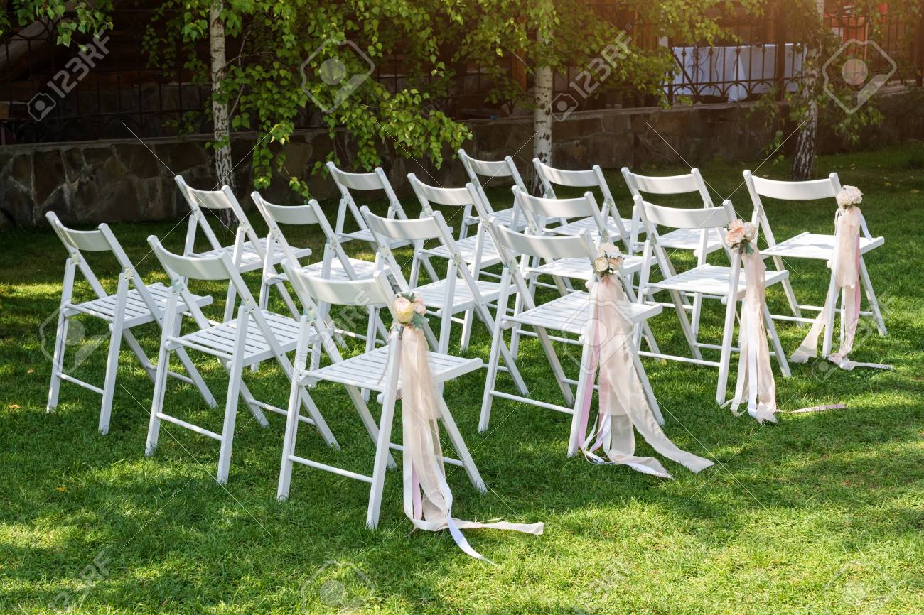 Beautiful Wedding Set Up Wedding Ceremony In The Garden White Stock Photo Picture And Royalty Free Image Image 84493168