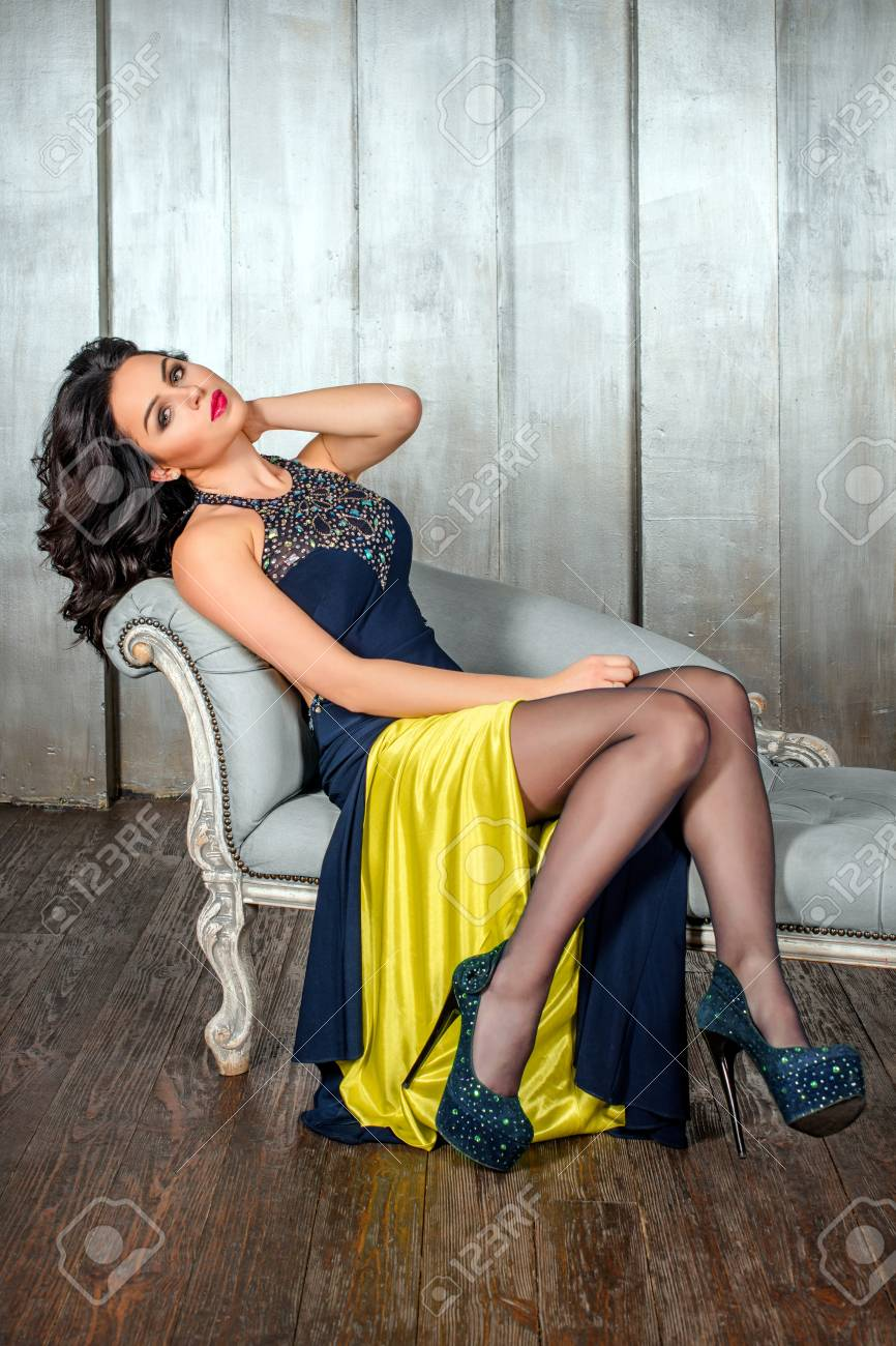 very beauty women with beautiful thighs in evening dresses