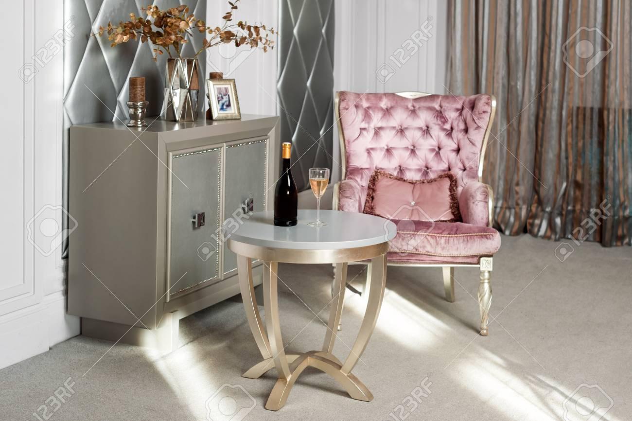 photo luxury interior luxurious pink velvet armchair antique carved furniture classic interior served wine