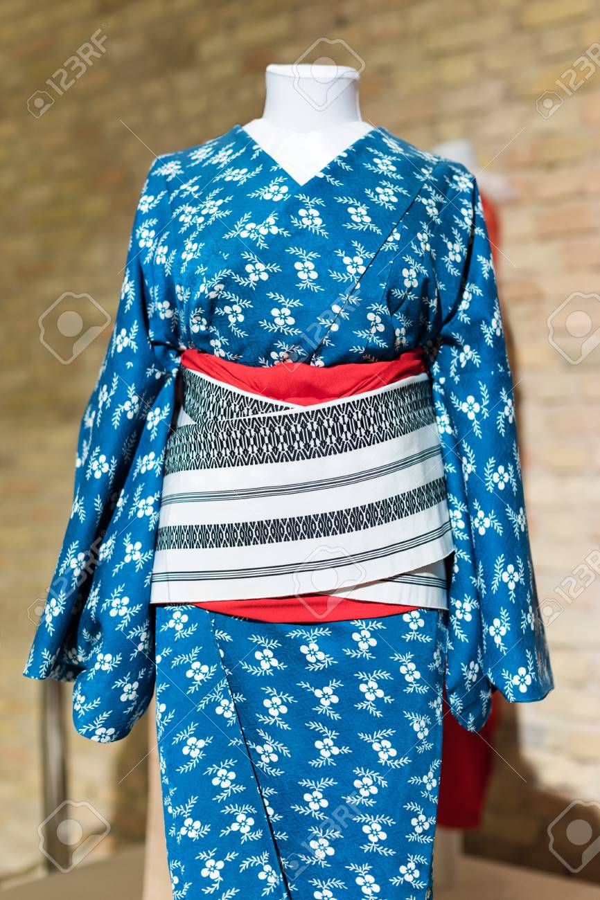 Stock Photo - Woman Kimono costume on mannequin. Traditional Japanese Maiko  dress. Geisha clothing