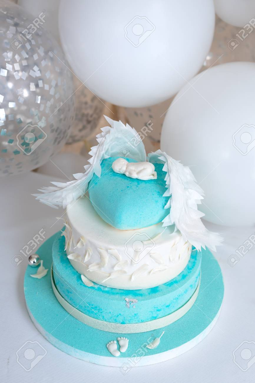 Blue Birthday Cake For Baby First Kid Decorations With And Balloons Stock