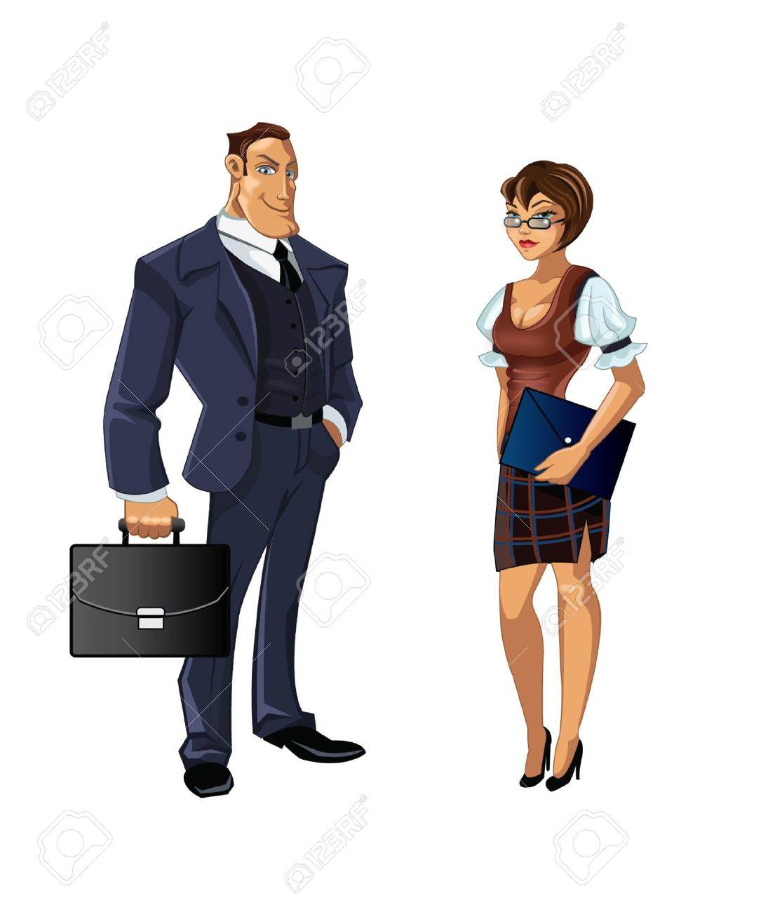 Set of two awesome office workers Stock Vector - 14987693