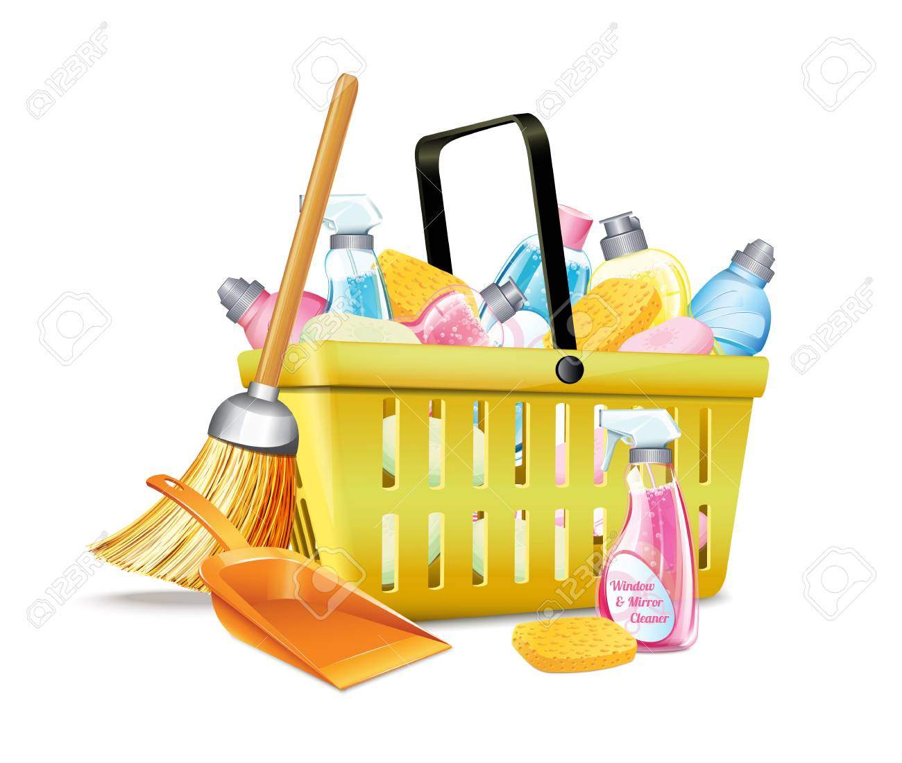 Basket With Detergent2 Stock Vector - 23776541
