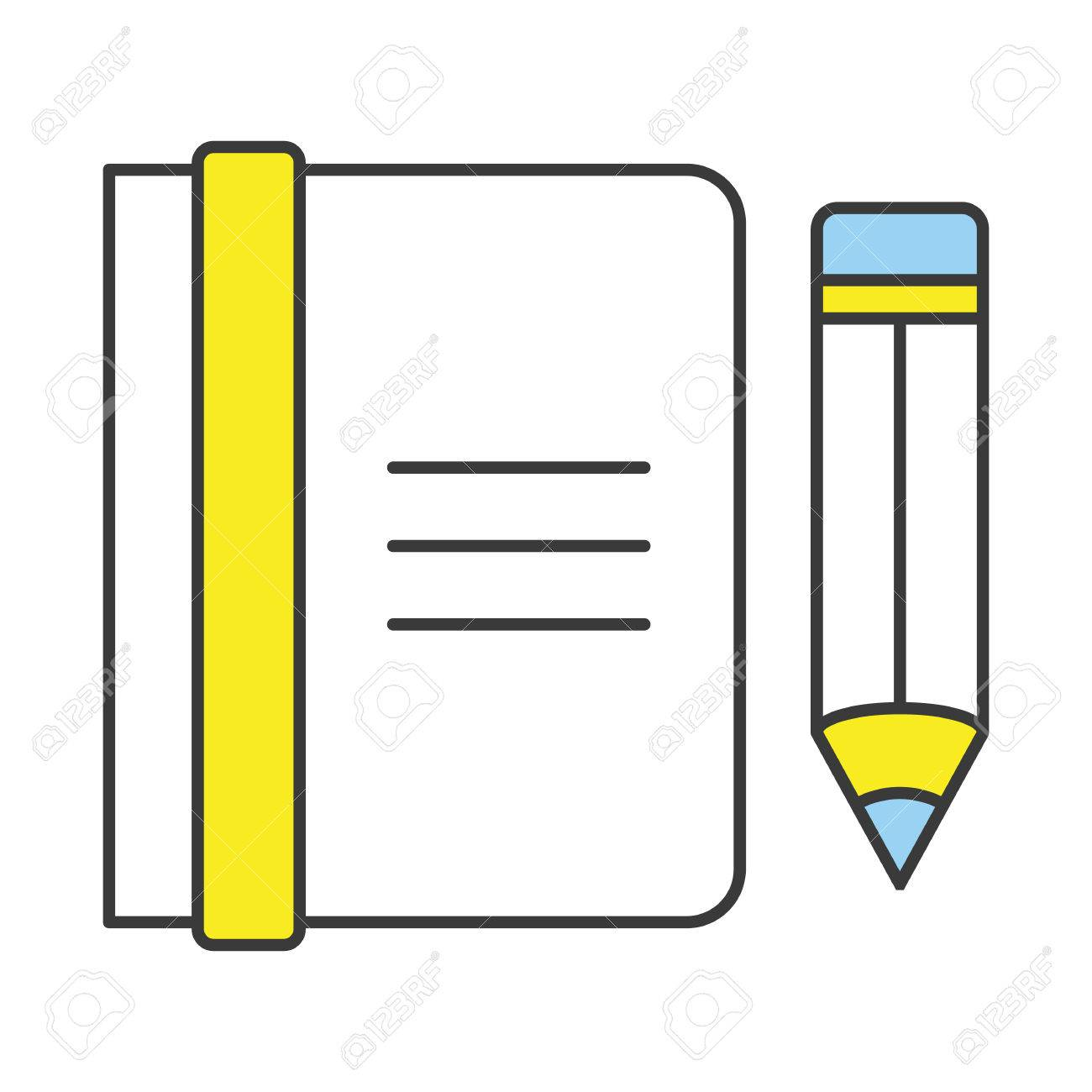 Vector Flat Line Design Concept Notebook and Pencil Icon Stock Vector - 30151615