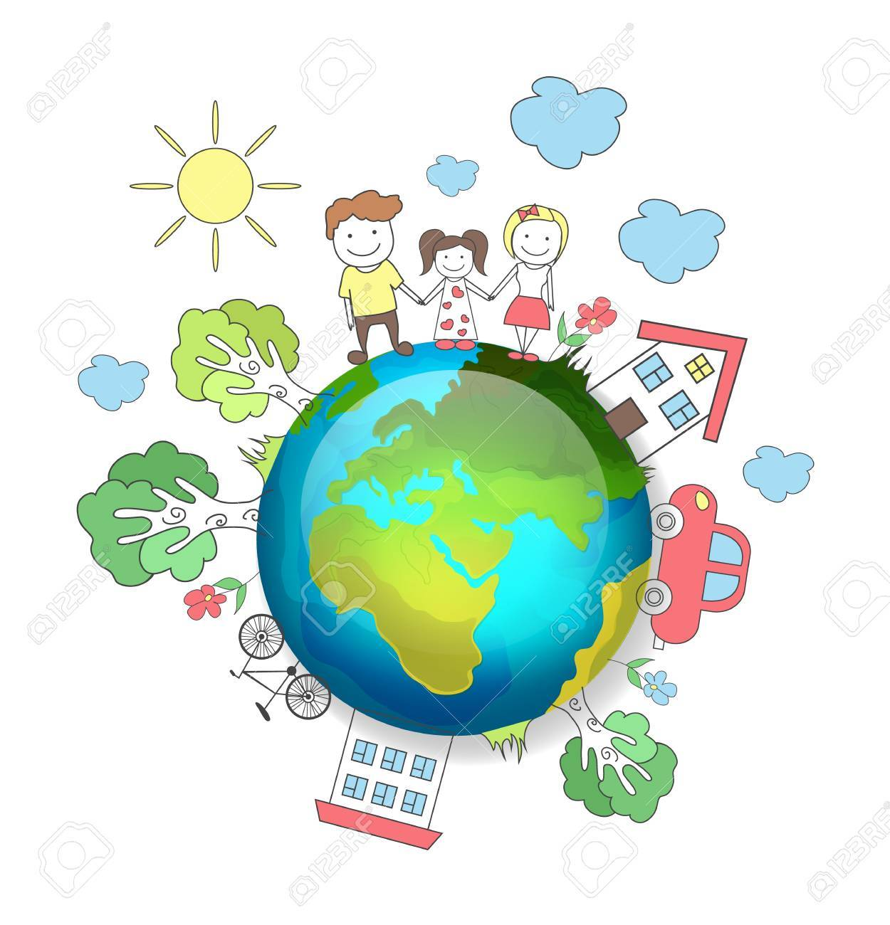 Planet Earth. Happy Family. Vector Illustration Royalty Free ...