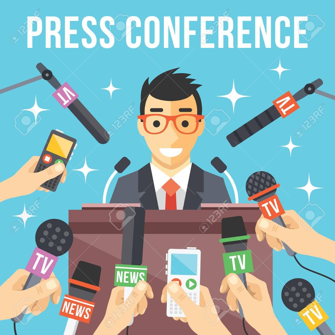 Press conference. Live report live news concept - 41200085