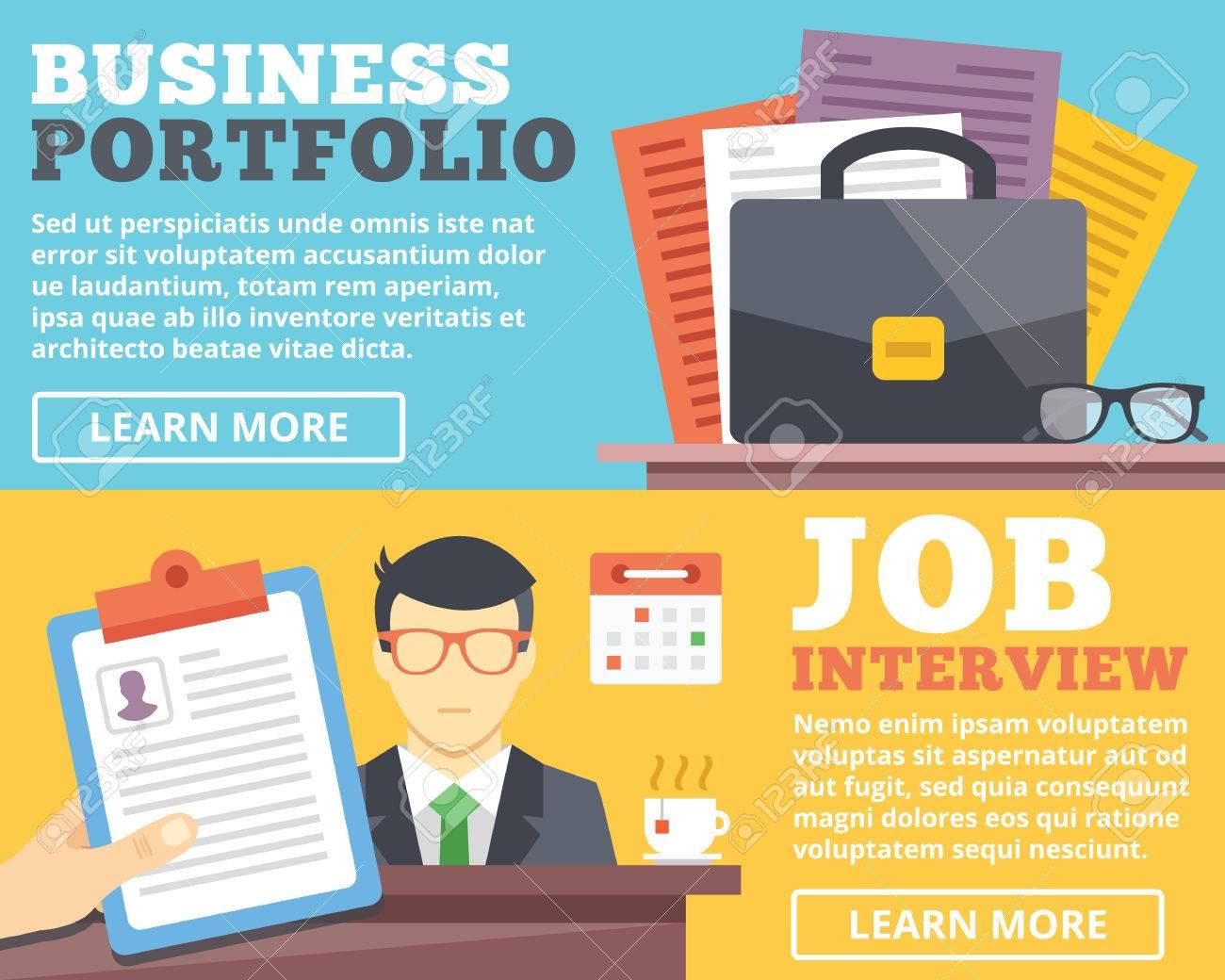 business portfolio job interview flat illustration concepts set business portfolio job interview flat illustration concepts set stock vector 41667057