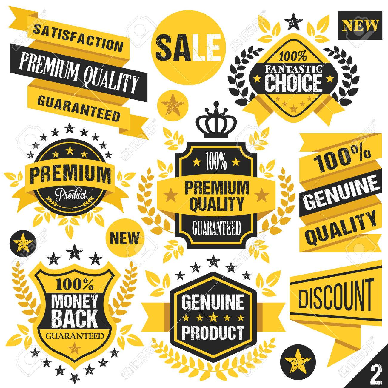 Black and yellow stickers badges labels and ribbons set 2 stock vector 41965331
