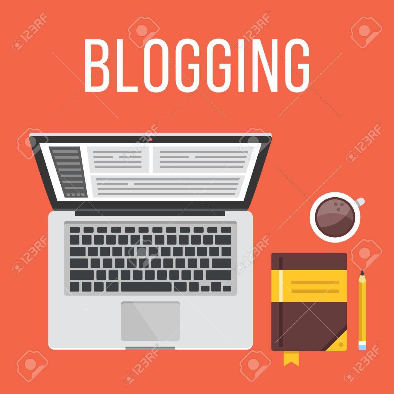 Blogging. Laptop, notepad, pencil and coffee cup. Top view. Flat design illustration concept - 43279822