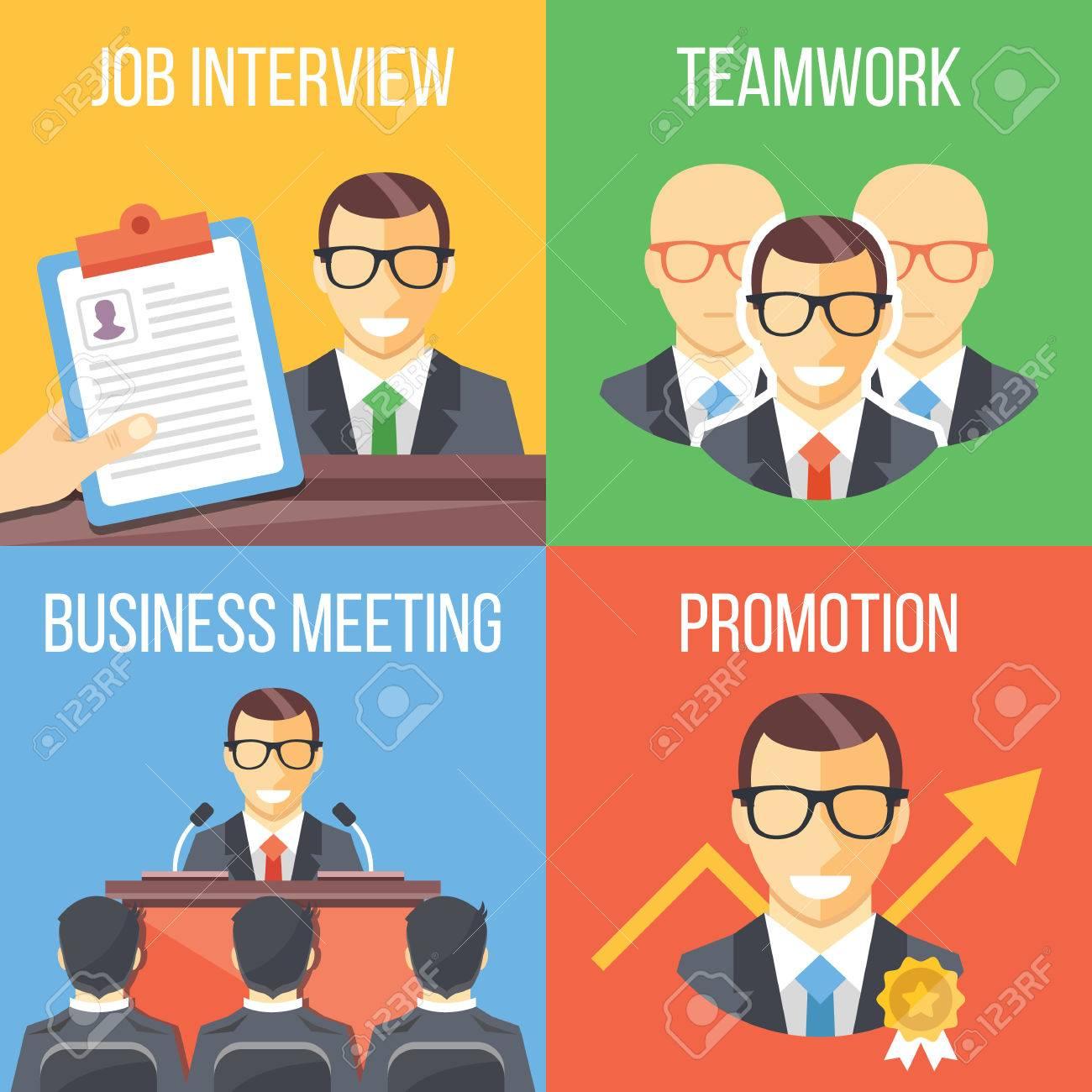 job interview teamwork business meeting promotion concepts job interview teamwork business meeting promotion concepts set of four trendy flat