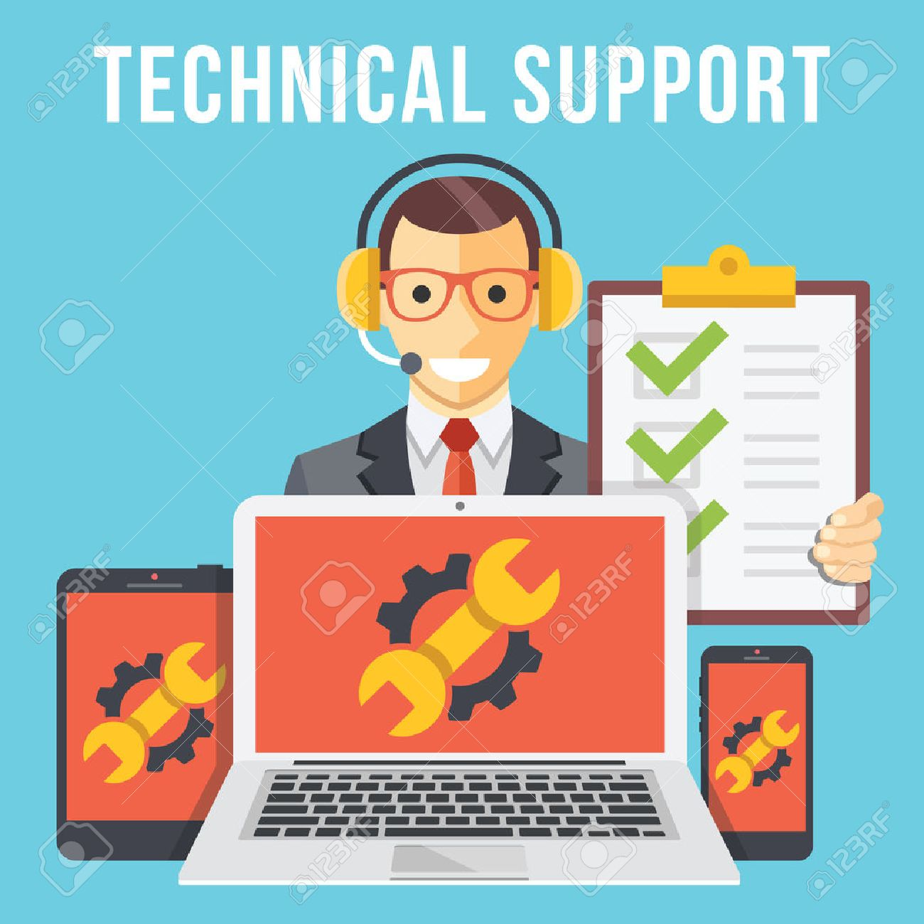Technical support flat illustration concept - 43676749