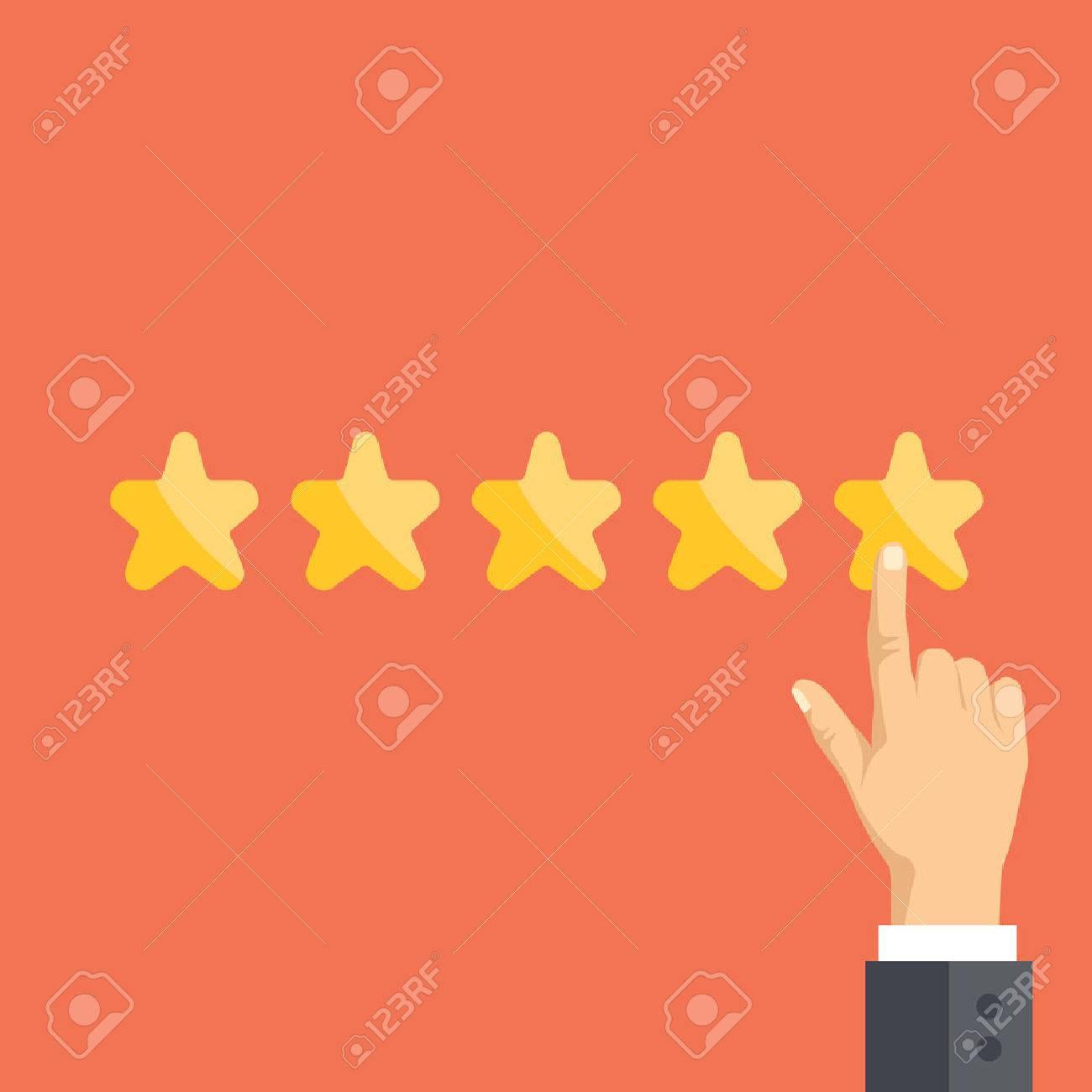09208e6dc2 Foto de archivo - Señalar la mano y cinco estrellas. Comentarios de los  lectores