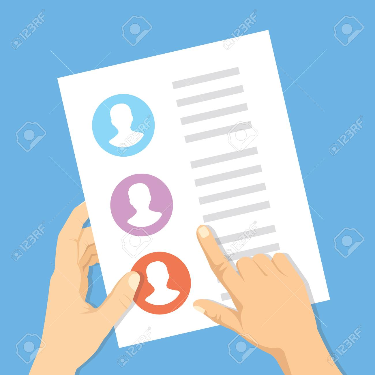 Pointing hand, hand with list of job applicants  Human resources