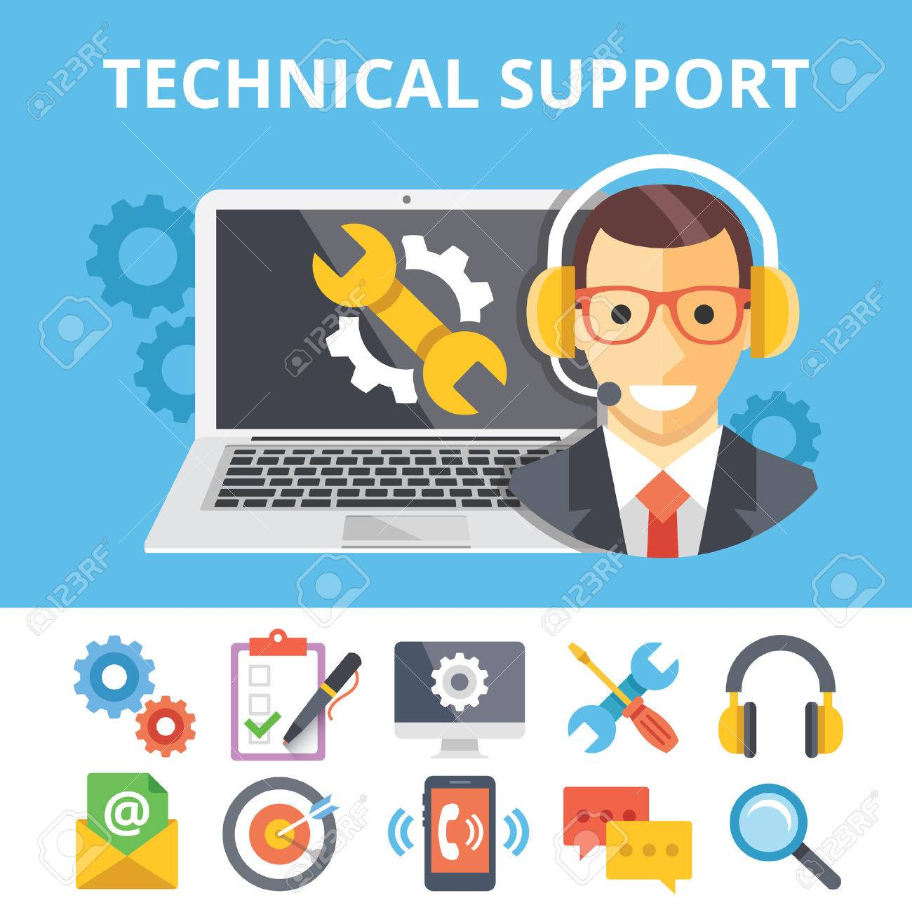Technical support flat illustration and flat technical support icons set - 44903805