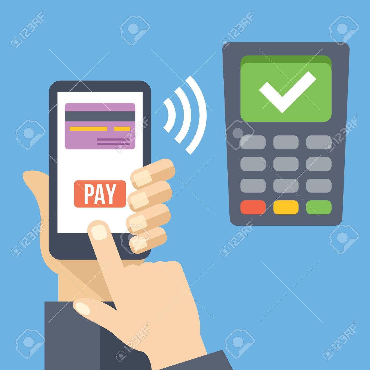 Hand with smartphone using mobile banking and mobile payment service - 46607777