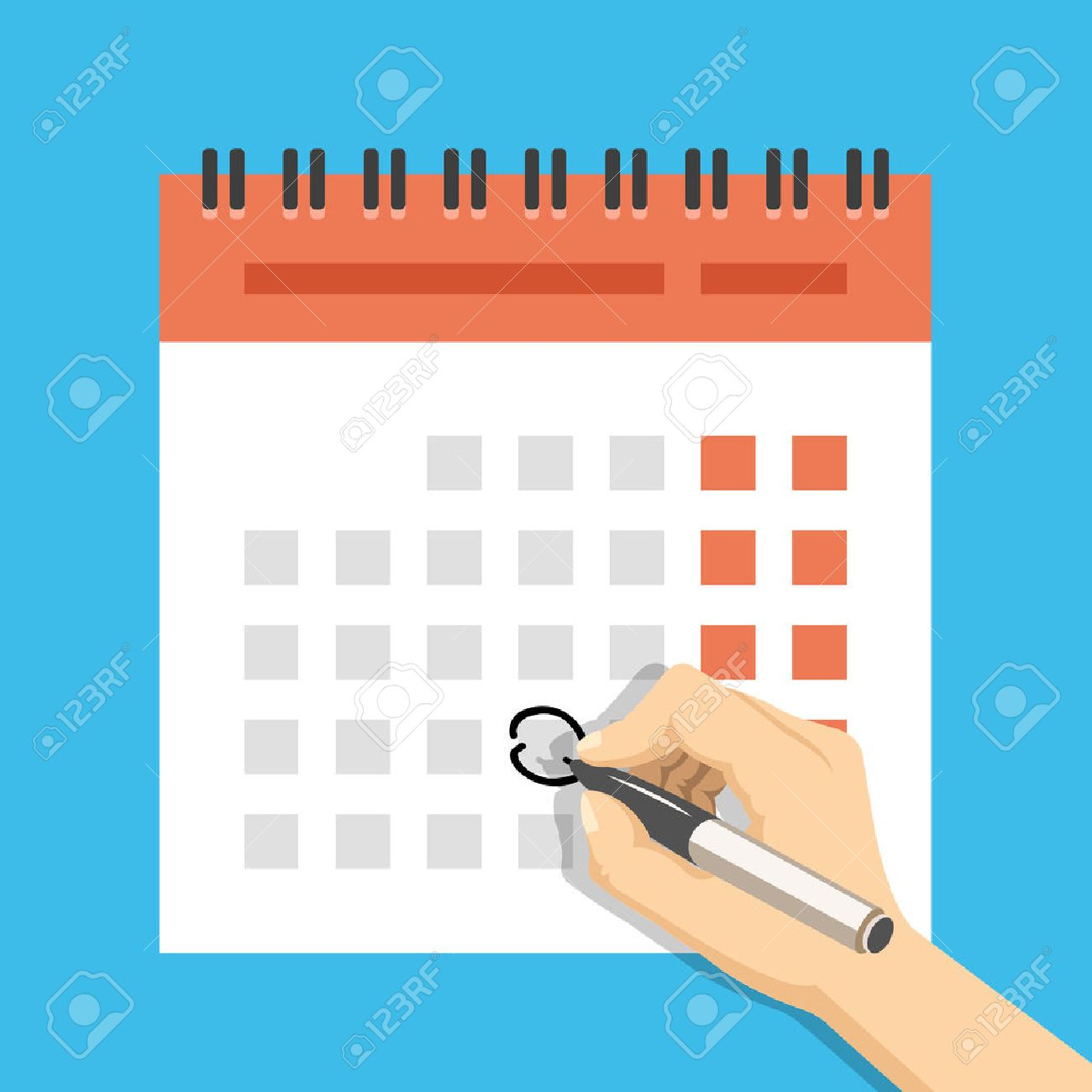 Hand with pen mark calendar. Important event concept. Modern flat design concepts for web banners, web sites, printed materials, infographics. Creative vector illustration - 48482328