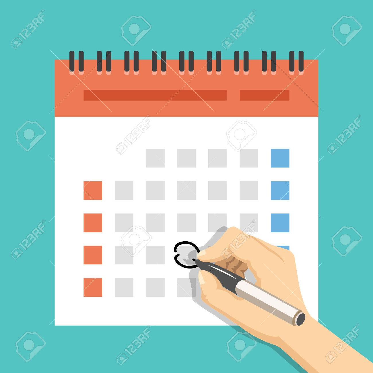 Hand with pen mark calendar. US version with week started on Sunday. Flat vector illustration - 48482342