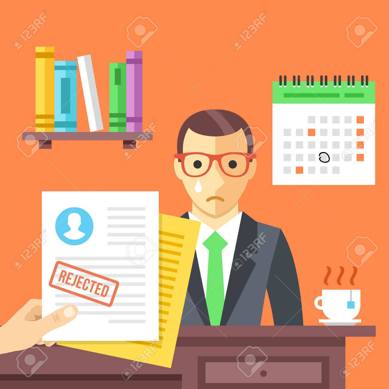 Job interview. Rejected job application with a stamp - 50576661