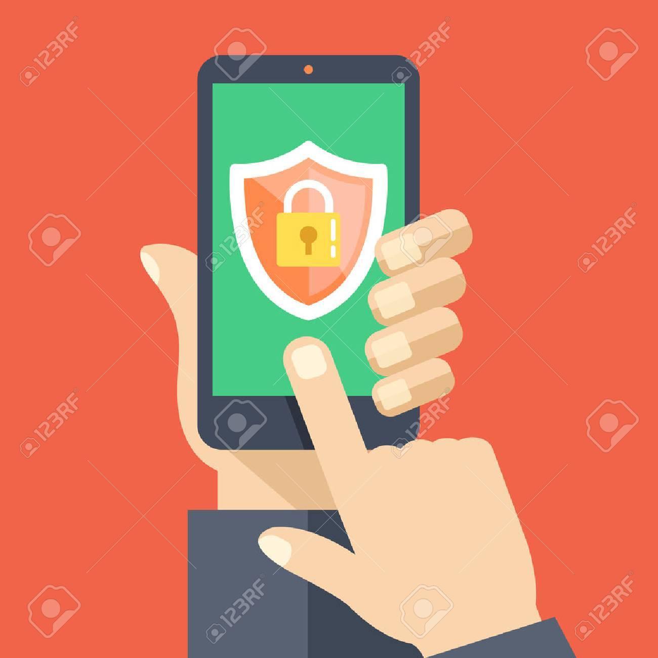 Mobile security app on smartphone screen. Flat design vector illustration - 50916251