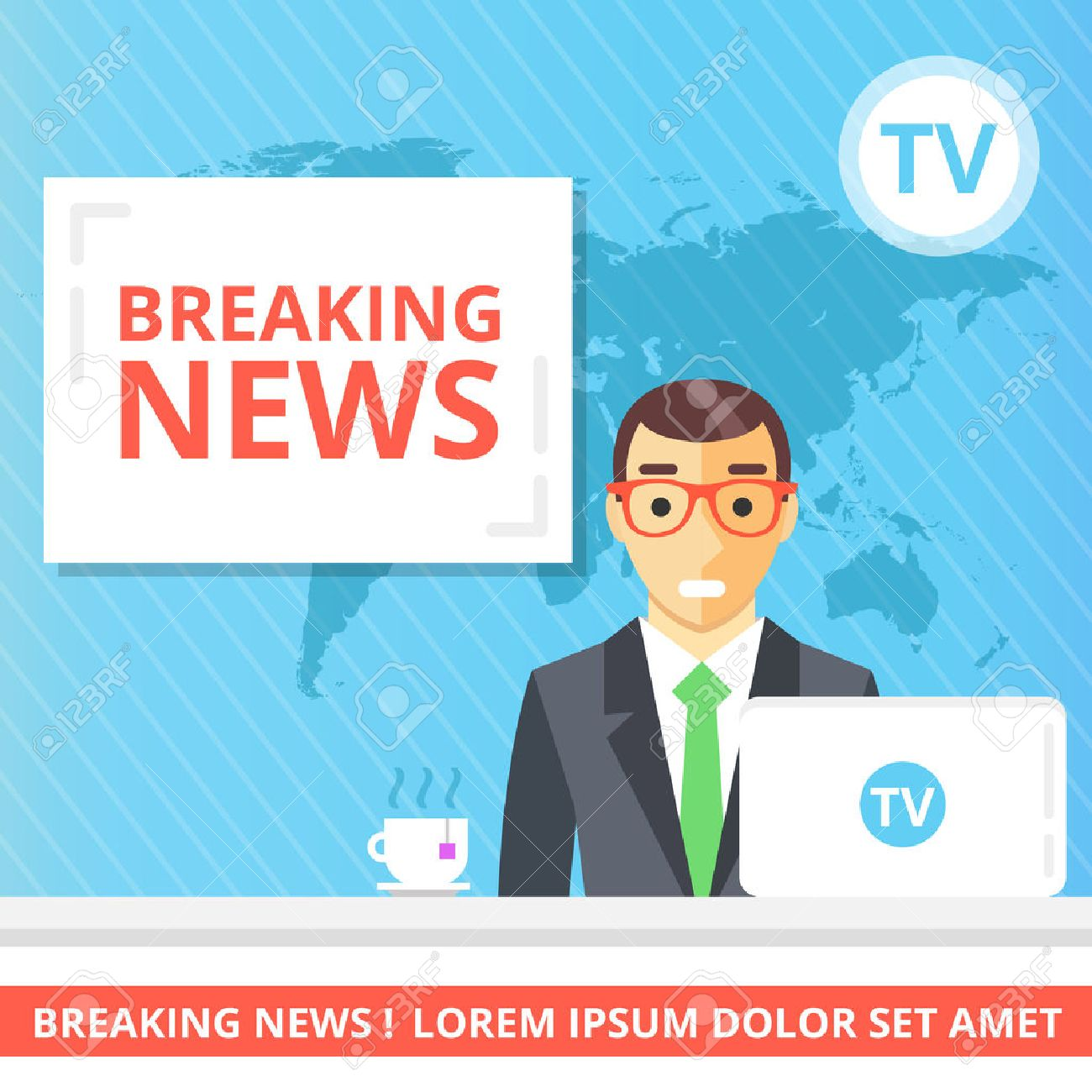 Breaking news flat illustration concept. Newscaster in the television studio - 52409844