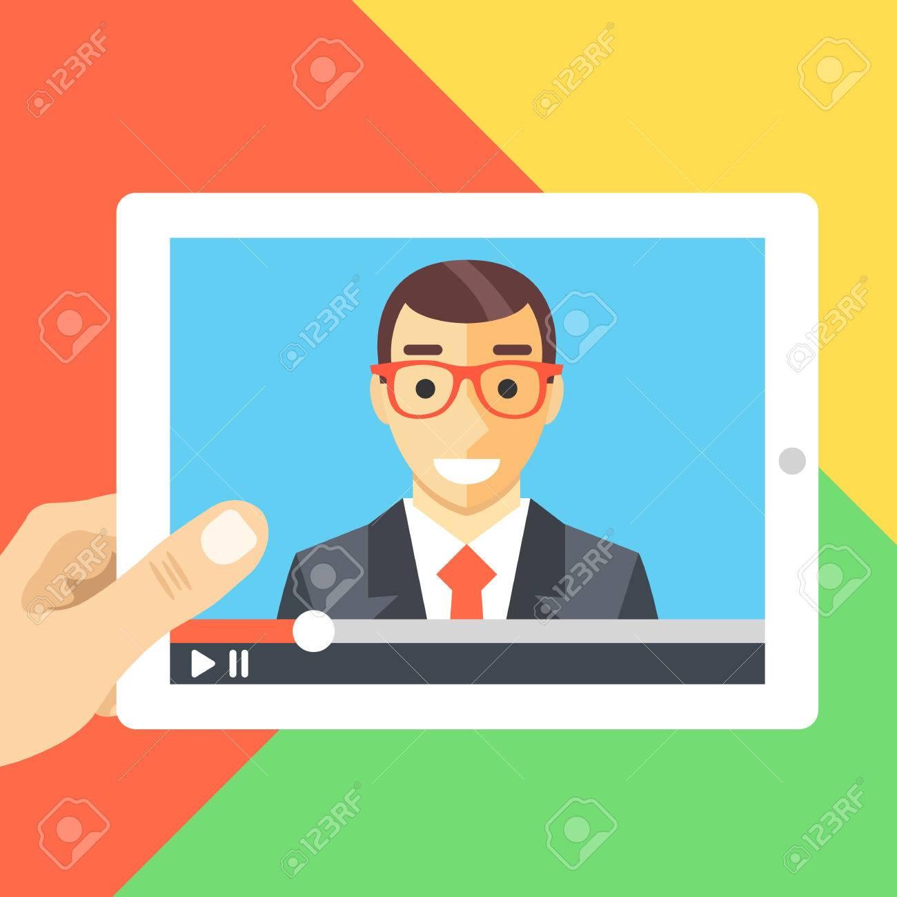 Online conference online tutorials webinar watching video online conference online tutorials webinar watching video flat illustration stock vector 52409977 baditri Gallery
