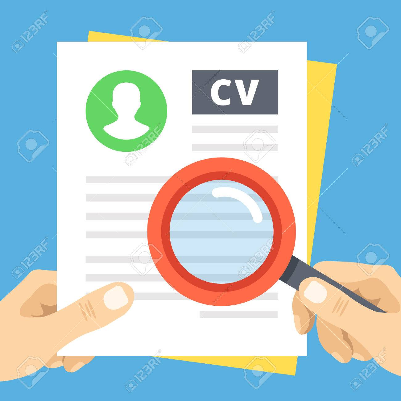 Cv Review Flat Illustration Hand With Magnifier Over Curriculum