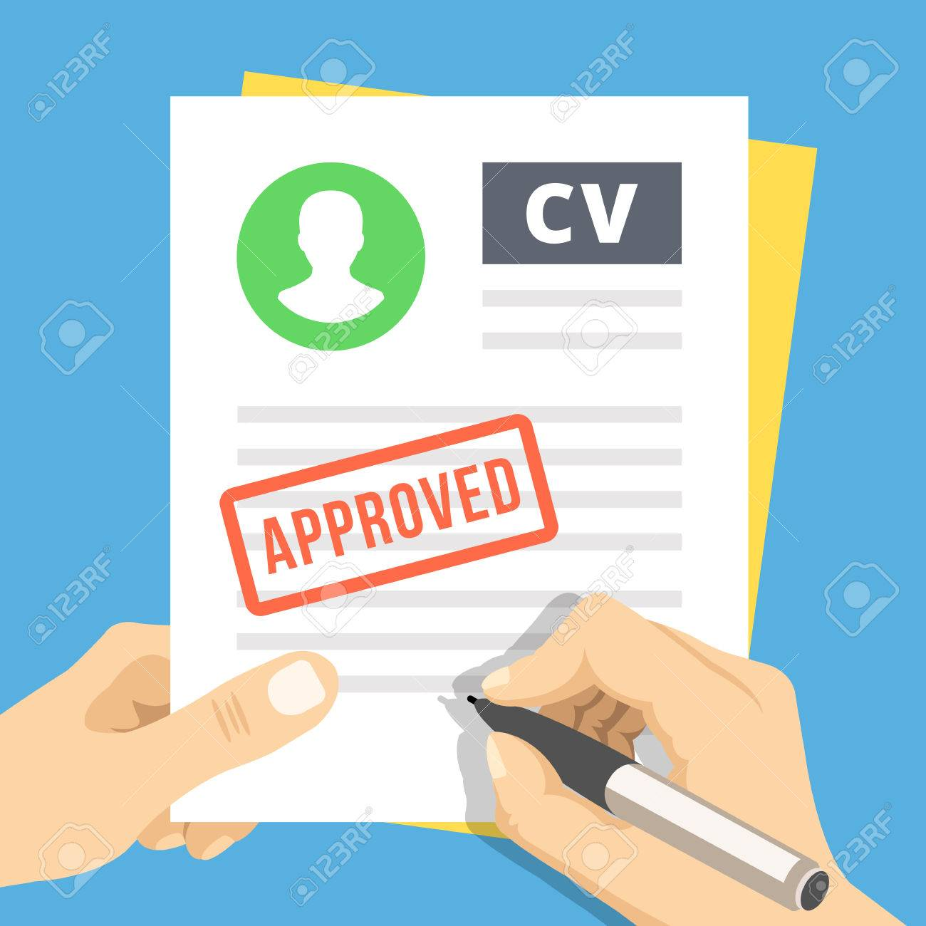 Cv Approved Hand With Pen Sign A Job Application Royalty Free