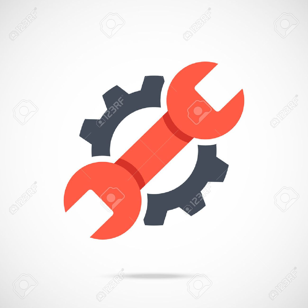 Gear and wrench icon. Red spanner and black cog. Creative graphic design logo element - 55398718