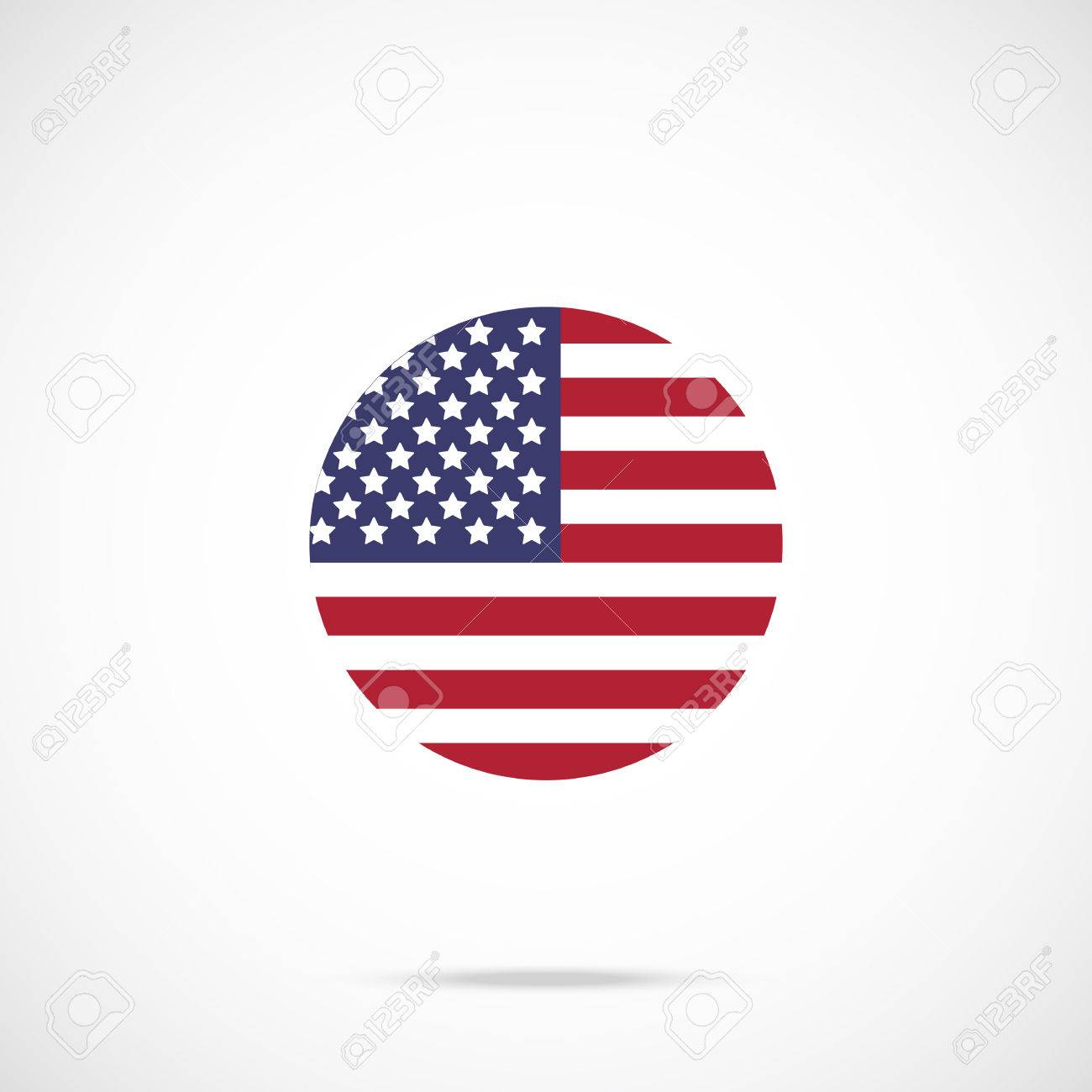 American Flag Round Icon Us Flag Icon With Accurate Official