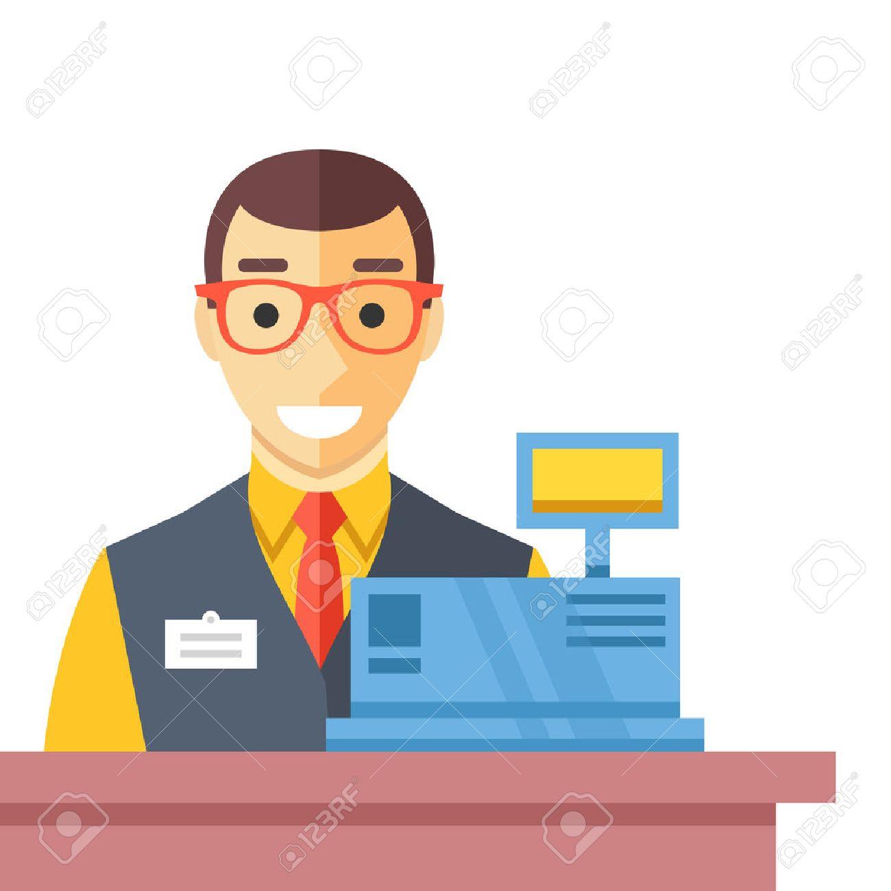 Cashier man at checkout counter. Counter desk, cash register and happy clerk. Flat vector illustration - 56655211