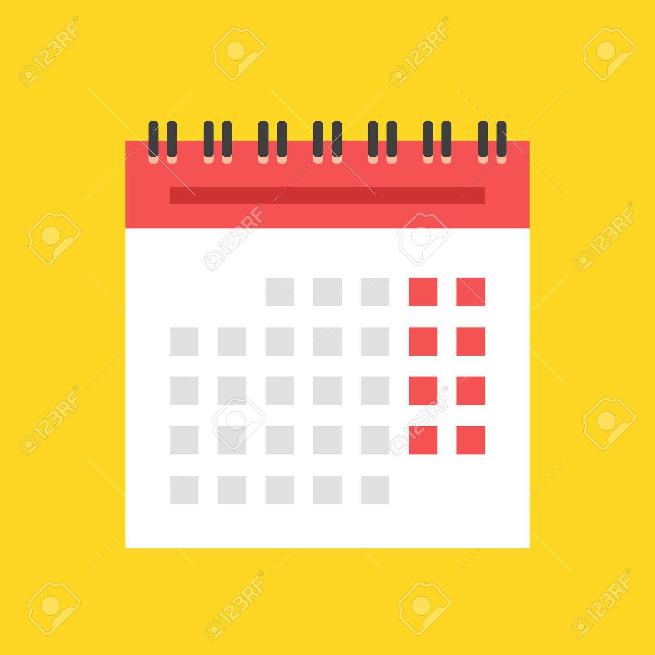 Calendario Vectores.Icono Del Calendario Plana Pared Espiral Ilustracion Vector Calendario