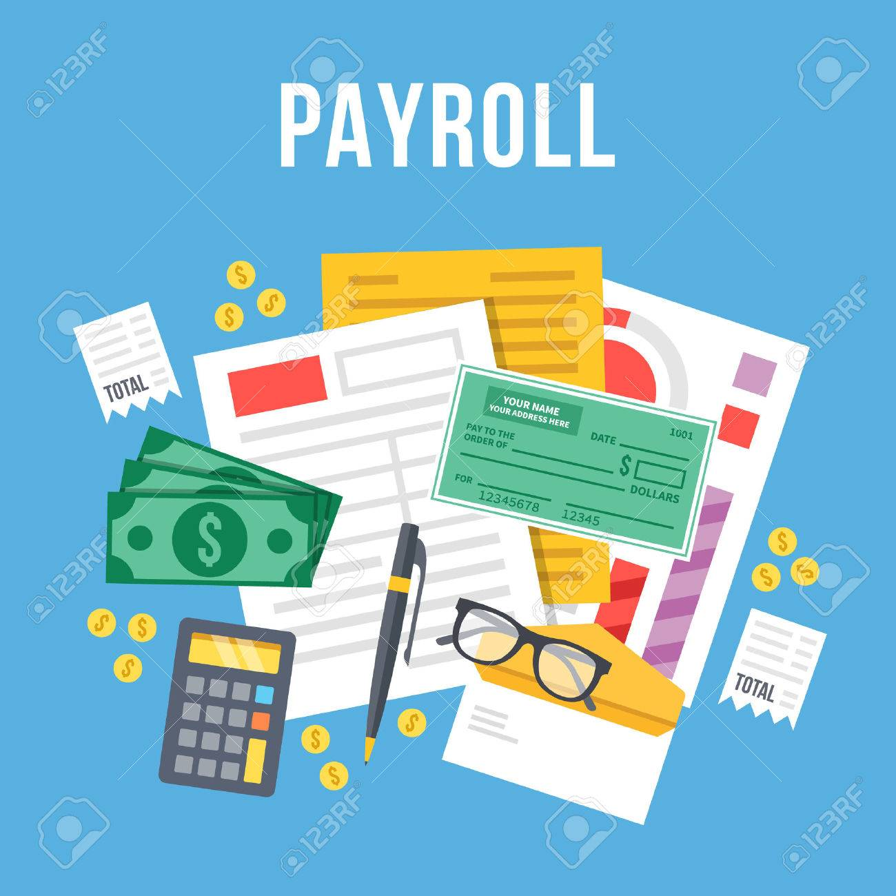 Payroll, Invoice Sheet Flat Illustration. Payroll Template, Calculate  Salary, Budget Concepts.  Payroll Invoice