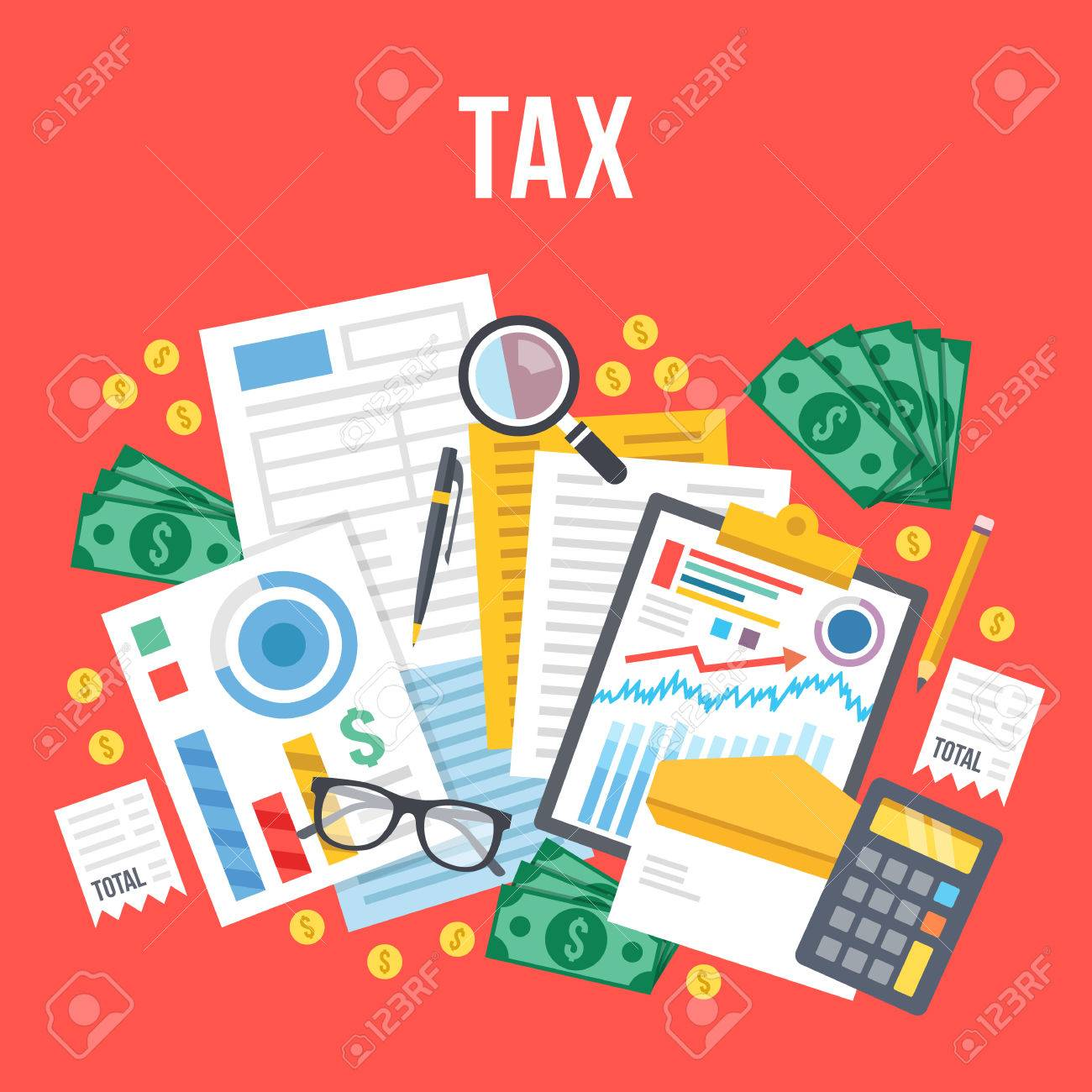 Tax calculation, budget calculation, accounting, paperwork concept. Top view. Modern flat design vector illustration - 56655247