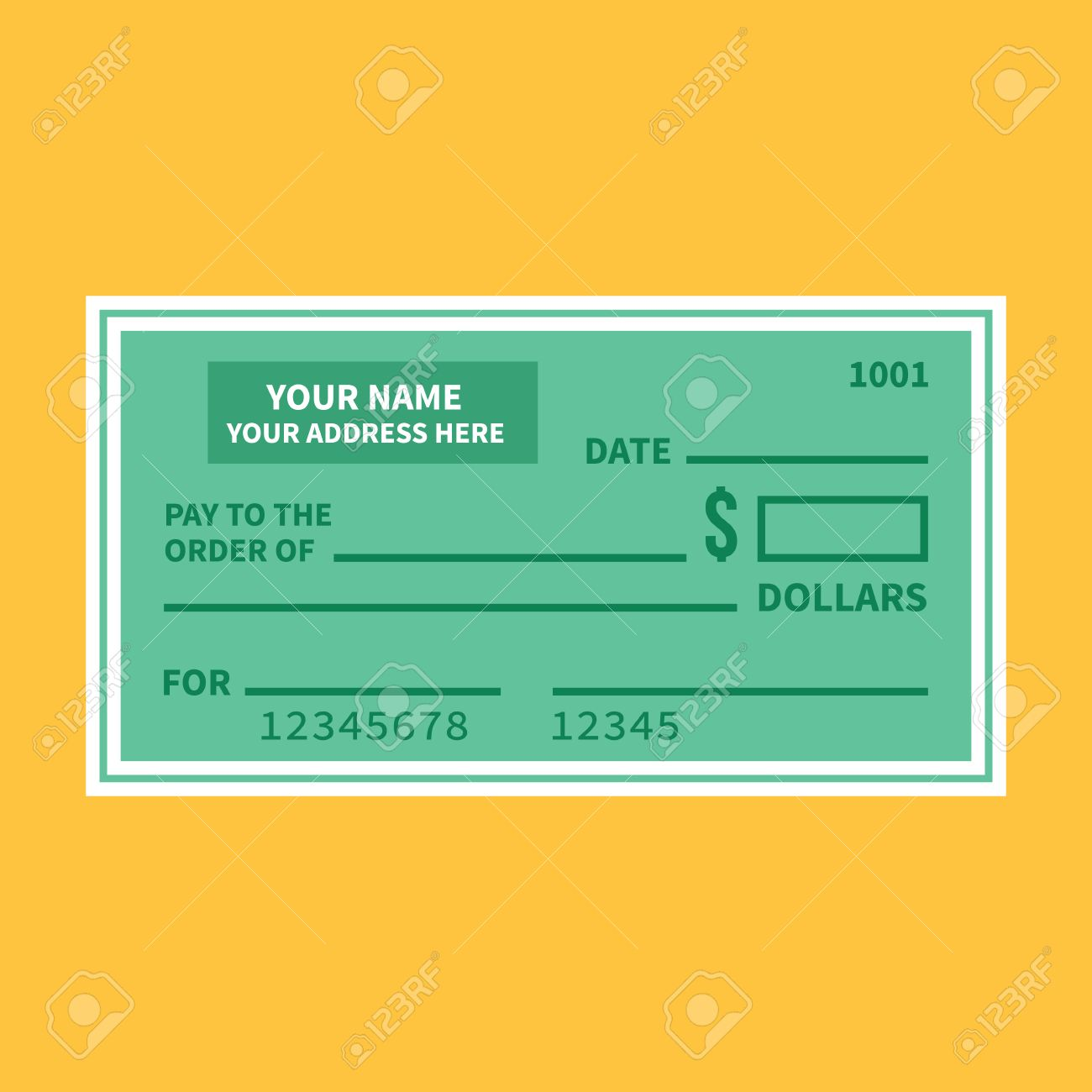 Vector Bank Check Template. Bank Cheque With Empty Fields Flat ...
