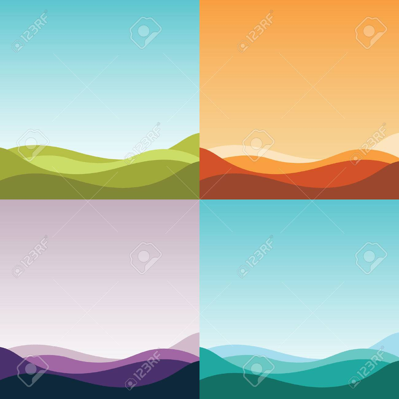 four gradient abstract backgrounds set. simple nature landscapes