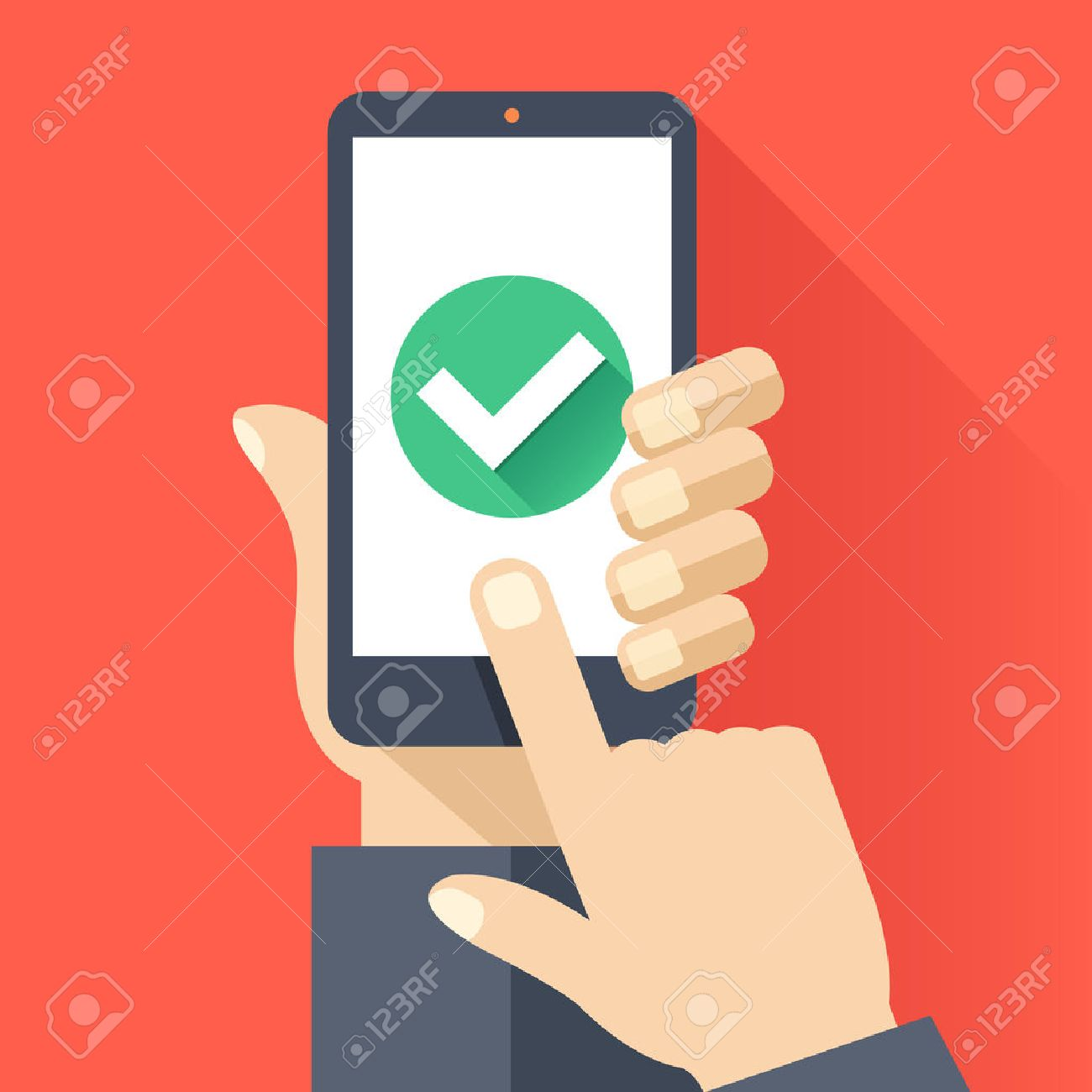 Hand holds smartphone with round green checkmark icon on smartphone screen. Task complete concept. Flat design vector illustration - 58310916
