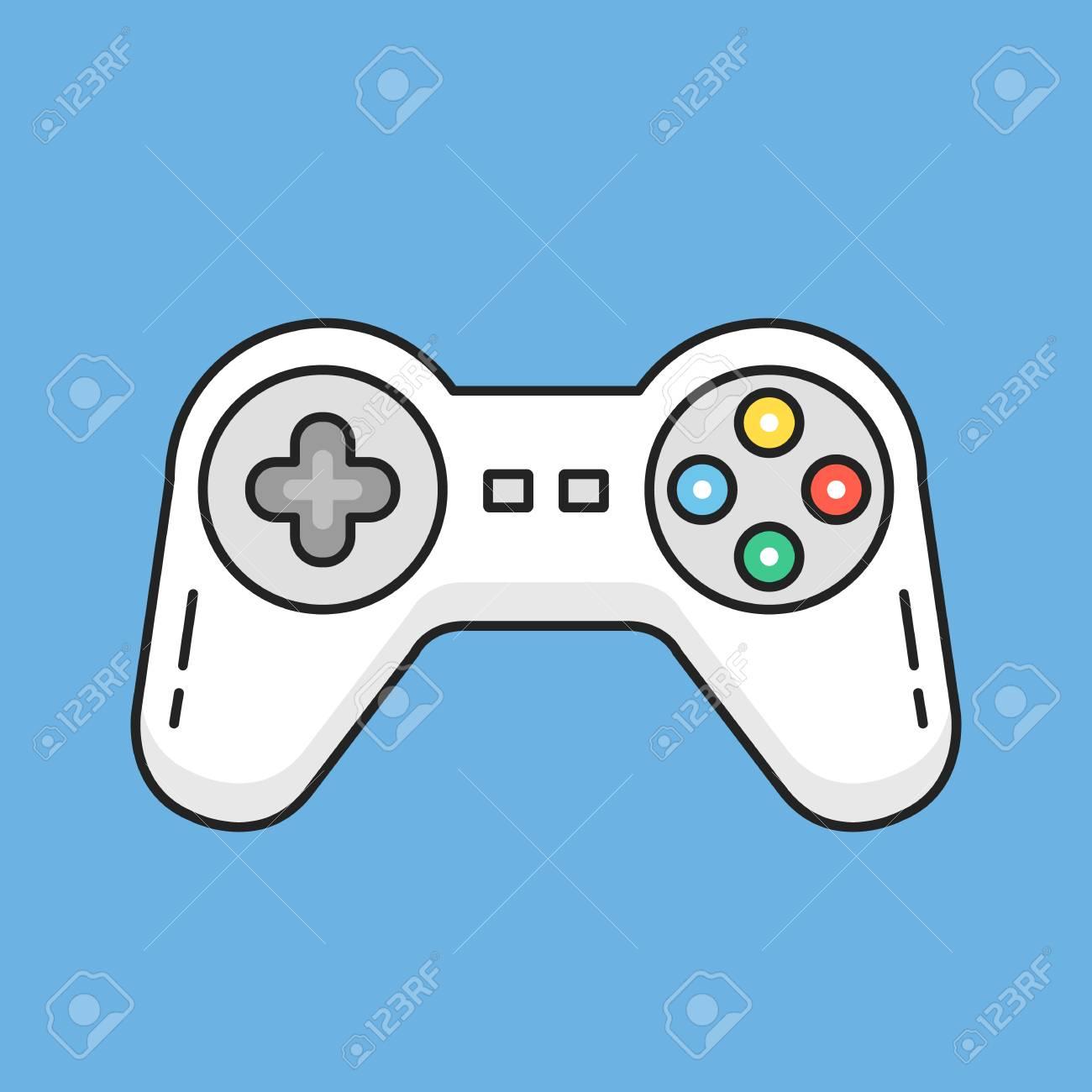 Dnne Linie Gamepad Symbol Weie Game Controller Symbol Modernes