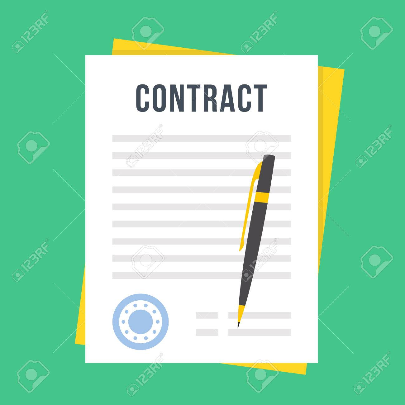 Contract Document With Rubber Stamp And Pen. Sign Contract Concept. Flat  Style Design Vector