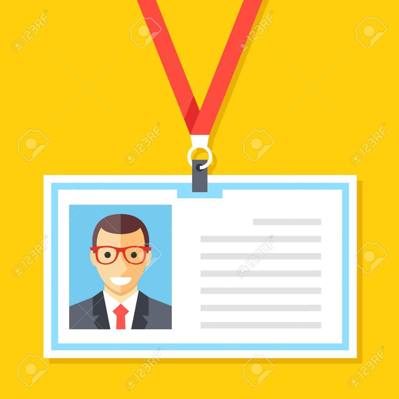 Tarjeta De Identificación Con Foto Hombre. Tarjeta De Plástico De ...