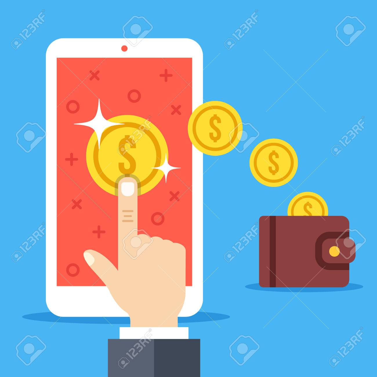 Hand tapping on coin on smartphone screen, gold coins falling