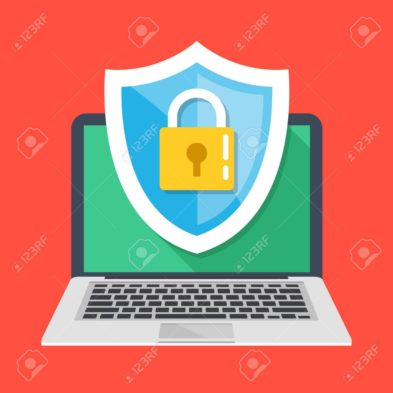 Computer security, protect your laptop concepts. Notebook and shield icon with padlock. Modern flat design vector illustration - 64043712