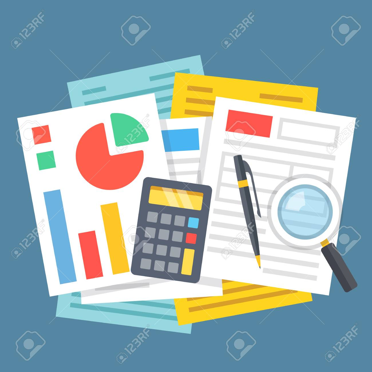 Paperwork Office Work Financial Analysis Accounting Concepts