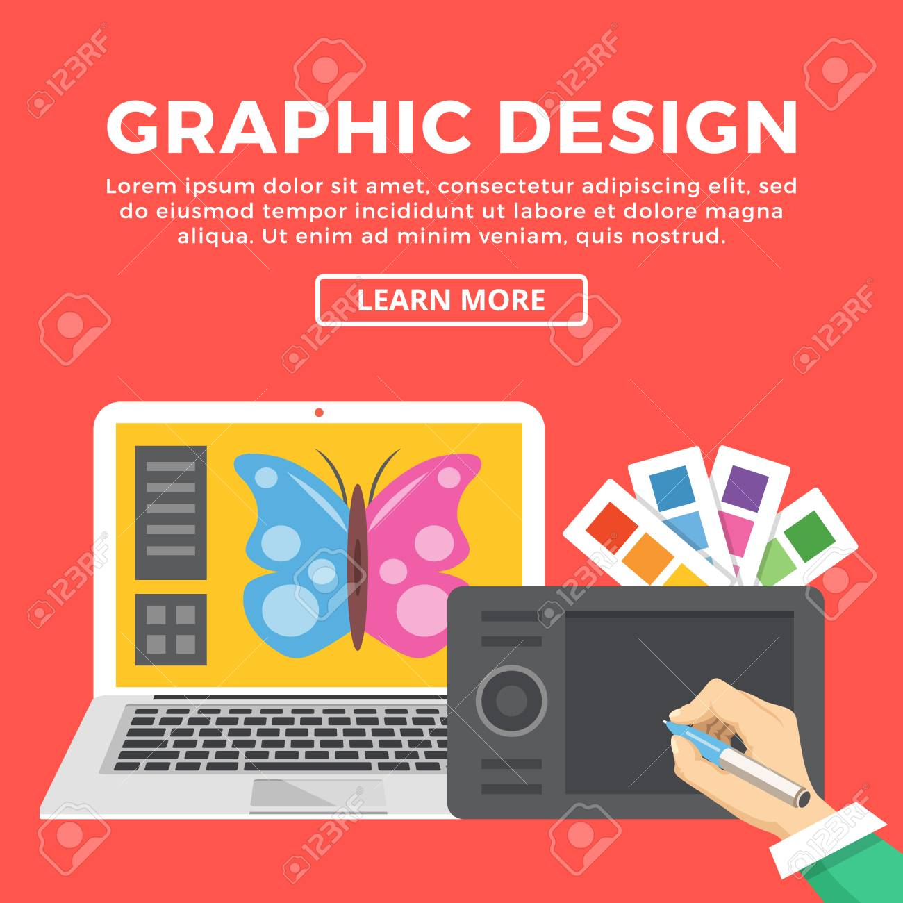 Graphic Design Web Banner. Hand With Pen Drawing With Digital ...