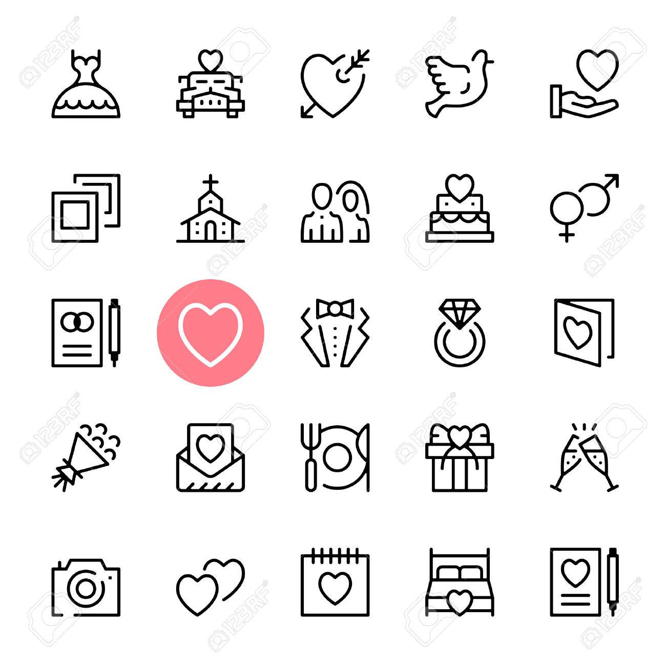 Vector Wedding Icons Set Premium Quality Graphic Design Marriage